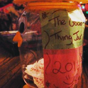 My friend's Good Things Jar! GOOGLY EYES! :D